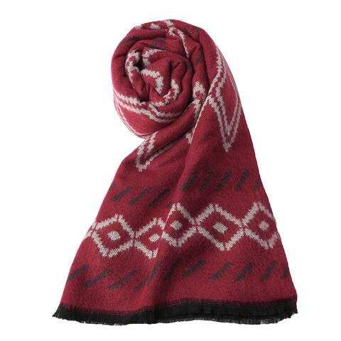Women Shawl Wrap Scarf Tasseled Fringe Acrylic Warm Red - Warm Red - One Size