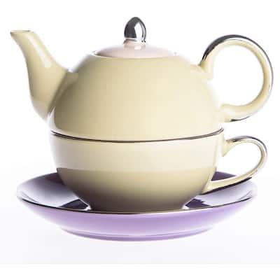 Porcelain Tea Set Glazed Teapot Teacup and Saucer - Yellow&Purple - 8' x 10'