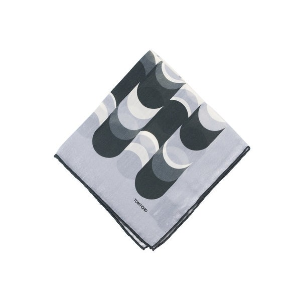 Tom Ford Mens Grey Abstract Waves Silk Pocket Square - One size