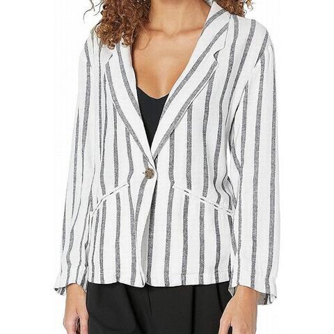 Sanctuary Women's Jackets White Size XS Linen Striped One-Button