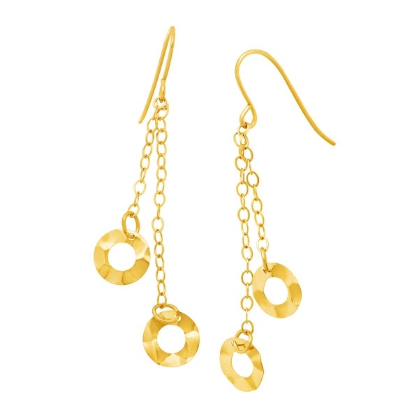 Just Gold Hammered Circle Chain Drop Earrings in 10K Gold - YELLOW