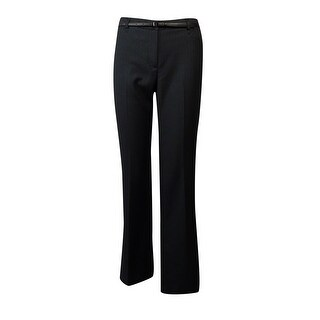 Calvin Klein Women's Belted Pinstripe Dress Pants - Charcoal/White