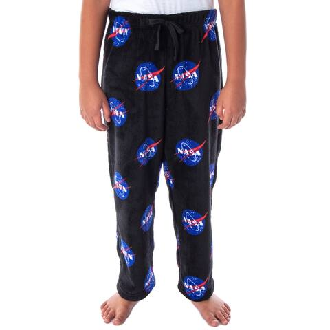 NASA Boys' Meatball Logo Allover Print Ultra-Soft Plush Fleece Lounge Sleep Pajama Pants
