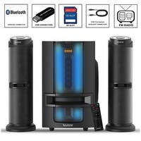 Boytone BT-426F, 2.1 Bluetooth Powerful Home Theater Speaker System, with FM Radio, SD USB ports, 50 Watts, Disco Light, Remote