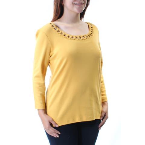 KAREN SCOTT Womens Gold Eyelet 3/4 Sleeve Scoop Neck Top Size: S
