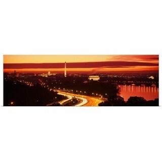 Poster Print entitled Washington DC, aerial, sunset - Multi-color