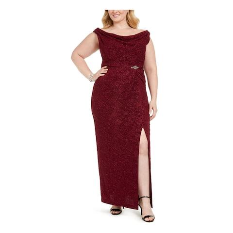 ALEX EVENINGS Womens Burgundy Sleeveless Maxi Formal Dress Size 14W