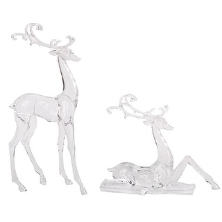 """Set of 2 Decorative Clear Deer Christmas Table Top Figurines 17.75"""""""