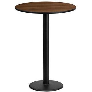 """Dyersburg 24'' Round Walnut Laminate Table Top w/42"""" High Round Base"""