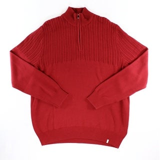 Calvin Klein NEW Solid Mania Red Mens Size XL Ribbed 1/2 Zip Sweater