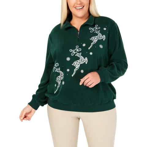 Alfred Dunner Womens Plus Reindeer Pullover Sweater Fleece Holiday - 2X
