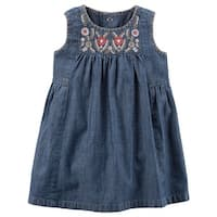 Carter's Baby Girls' Embroidered Chambray Dress- 3 Months