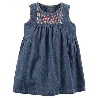 Carter's Baby Girls' Embroidered Chambray Dress-12 Months