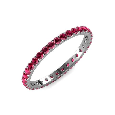 TriJewels Ruby 1 1/3 ctw Womens Eternity Ring Stackable 14K Gold