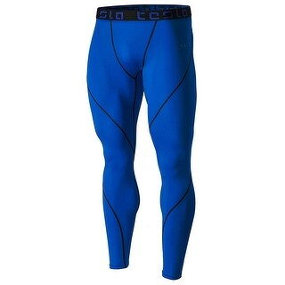 Tesla MUP19 Cool Dry Contour-Stitching Compression Pants - Blue/Black