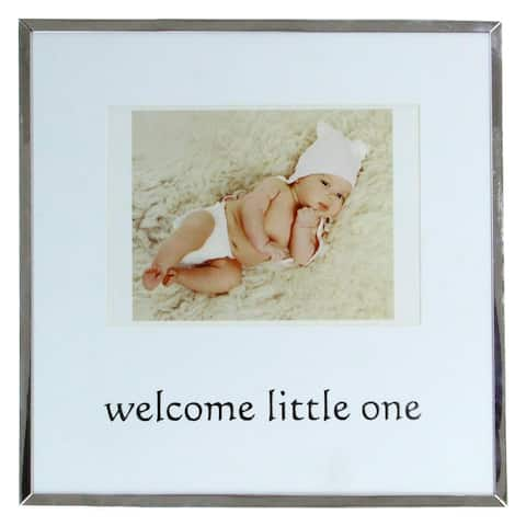 """10"""" Metallic Square 4"""" x 6"""" Baby Photo Picture Frame - Silver - 4-inchx6-inch"""