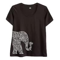 Left Side Elephant Holding Lotus-Adult Ladies Plus Size Scoop Neck Tee