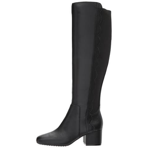 Bandolino Womens Florie Leather Square Toe Knee High Fashion Boots