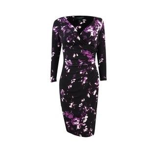 Lauren Ralph Lauren Women's Faux Wrap Jersey Ruched Dress (0, Black/Purple) - 0