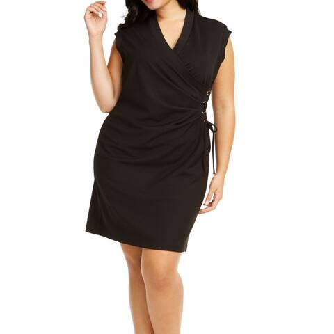 Anne Klein Women's Dress Black Size 2X Plus Sheath Surplice Lace Up