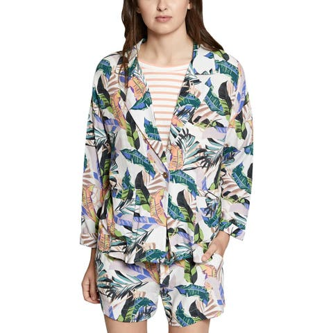 Sanctuary Womens One-Button Blazer Printed Collared
