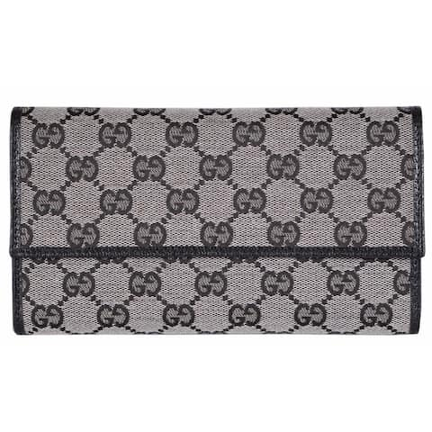"Gucci 257303 Grey Black Canvas Leather GG Guccissima Wallet W/Coin Pocket - 7.5"" x 4 1/2"" x 1"""