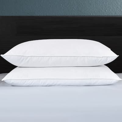 2 Pack Feather Down Pillows Medium Firm for Back and Side Sleepers - White