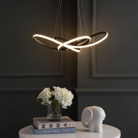 """Alexia 25"""" Integrated LED Adjustable Pendant, Black by JONATHAN Y"""