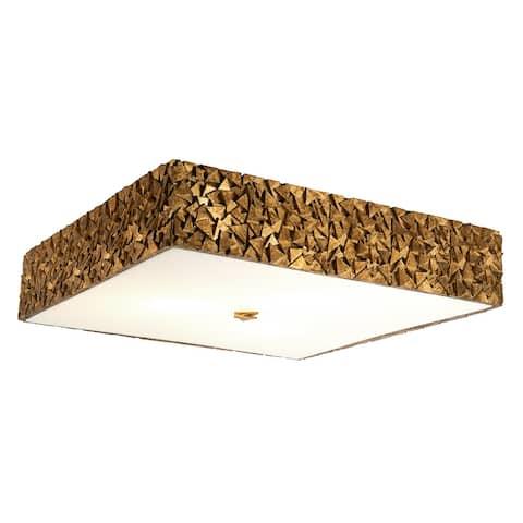 Mosaic Square 3-Light Flush in Gold