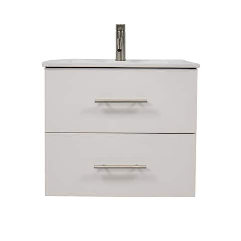 Volpa USA Napa 30-inch Glossy White Wall-Mounted Floating Bathroom Vanity Set