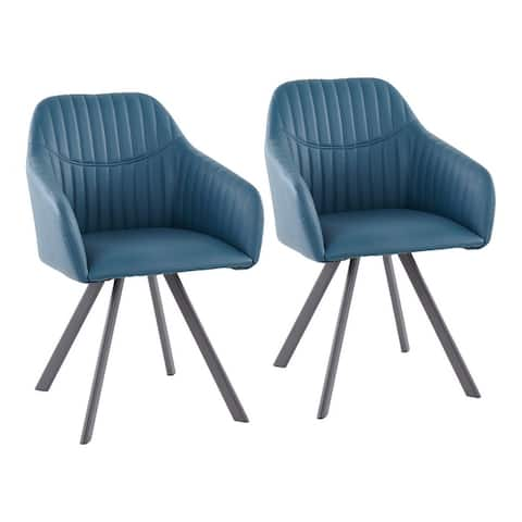 Carbon Loft Aduba Contemporary Pleated Chair in Faux Leather (Set of 2)