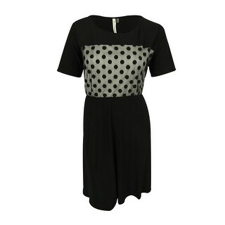 NY Collection Women's Elbow Sleeves Lace Inset Dress - Black