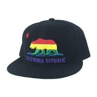 California Republic Snapback Hat Cap - Black RASTA Color