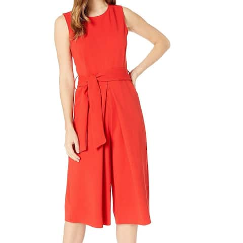 Bishop + Young Womens Jumpsuit Red Size Small S Cropped Tie-Waist