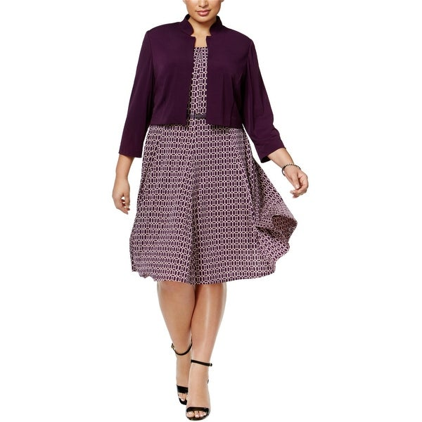 Jessica Howard Womens Jersey Shrug Sweater, Purple, 16W. Opens flyout.