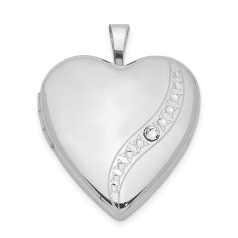 Sterling Silver Rhodium-plated Crystal Heart Locket with 18-inch Cable Chain By Versil