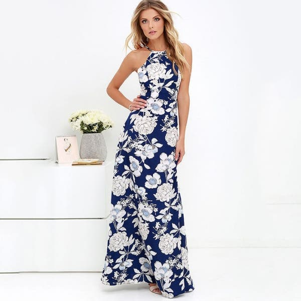 Halter Neck Fl Print Sleeveless Summer Dress Long