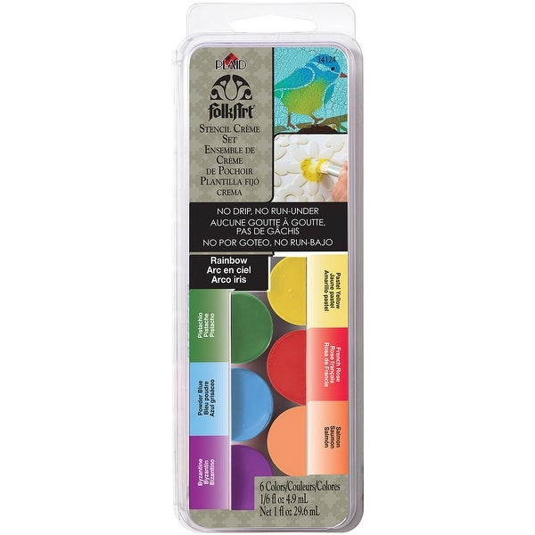 FolkArt Stencil Cream Paint Set 6/Pkg-Rainbow