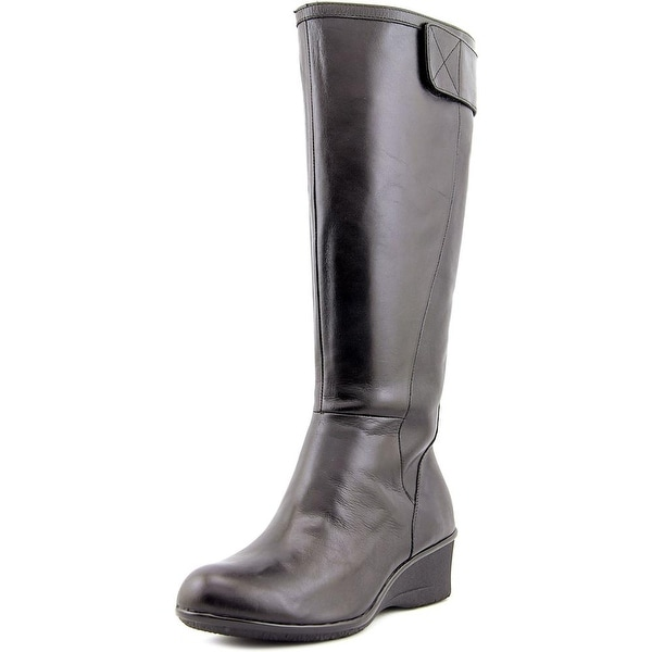 Taryn Rose Aiden Women Round Toe Leather Black Knee High Boot