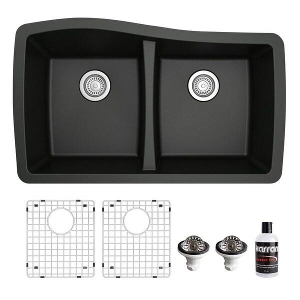 Karran Undermount Quartz 33 in. 50/50 Double Bowl Kitchen Sink Kit. Opens flyout.