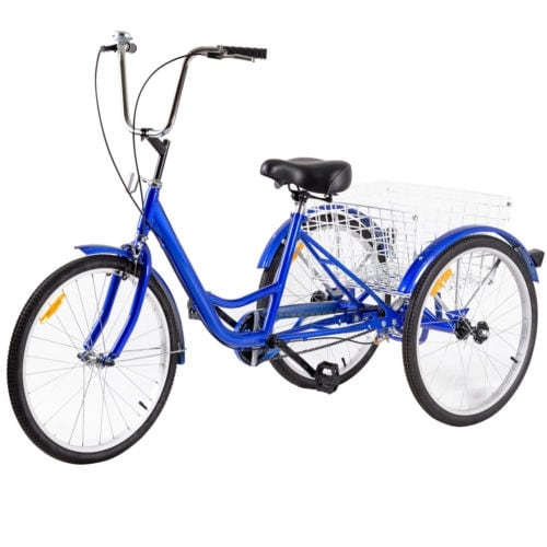 "26/"" Single Speed 3-wheel Bicycle Adult Tricycle w// Bell Adjustable Height Navy"
