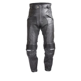 Mens Heavy Duty Motorcycle Black Leather Race Pants with 4 Piece Armor PT53