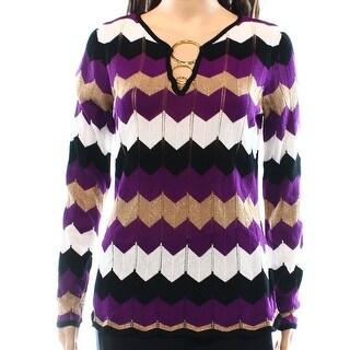 INC NEW Purple Women's Size Small S Boat Neck Zig-Zag Shimmer Sweater
