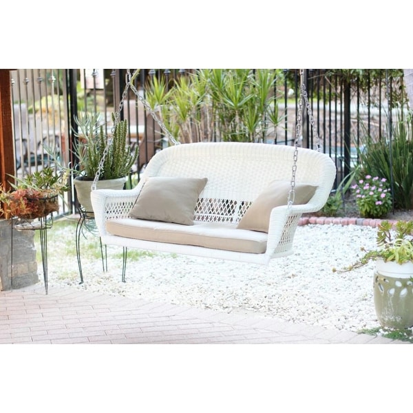"51.5"" Hand Woven White Resin Wicker Outdoor Porch Swing with Tan Cushion"