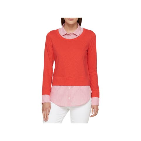 Tommy Hilfiger Womens The Graduate Pullover Sweater Knit Layered