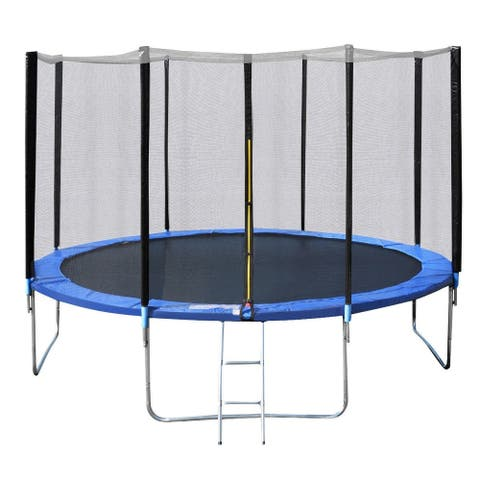 14' Trampoline Combo with Safety Enclosure Net Pad and Ladder