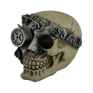 Human Skull Decorative Statue With Silver Steampunk Phantom Mask - 4.75 X 5.5 X 4.25 inches