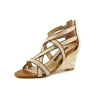 French Connection Ulie Open Toe Leather Wedge Sandal