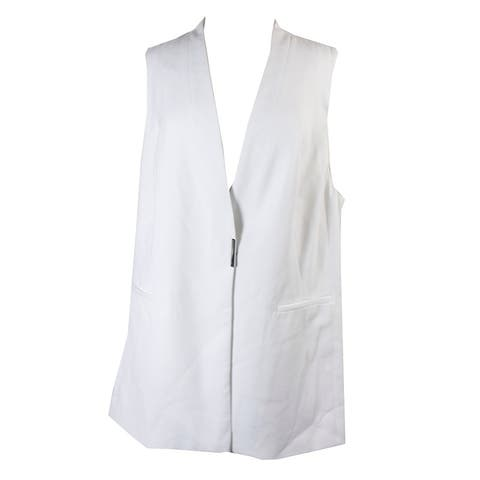 Alfani Plus Size Bright White Sleeveless Crepe Vest 16W