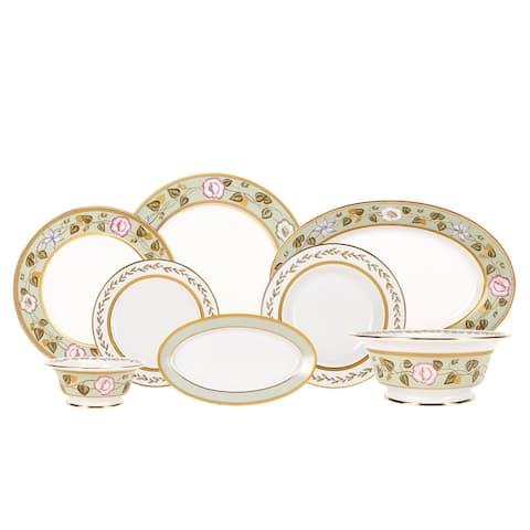 Imperial Porcelain Factory Jade Background 24 Pc Porcelain Dinnerware Set For 6